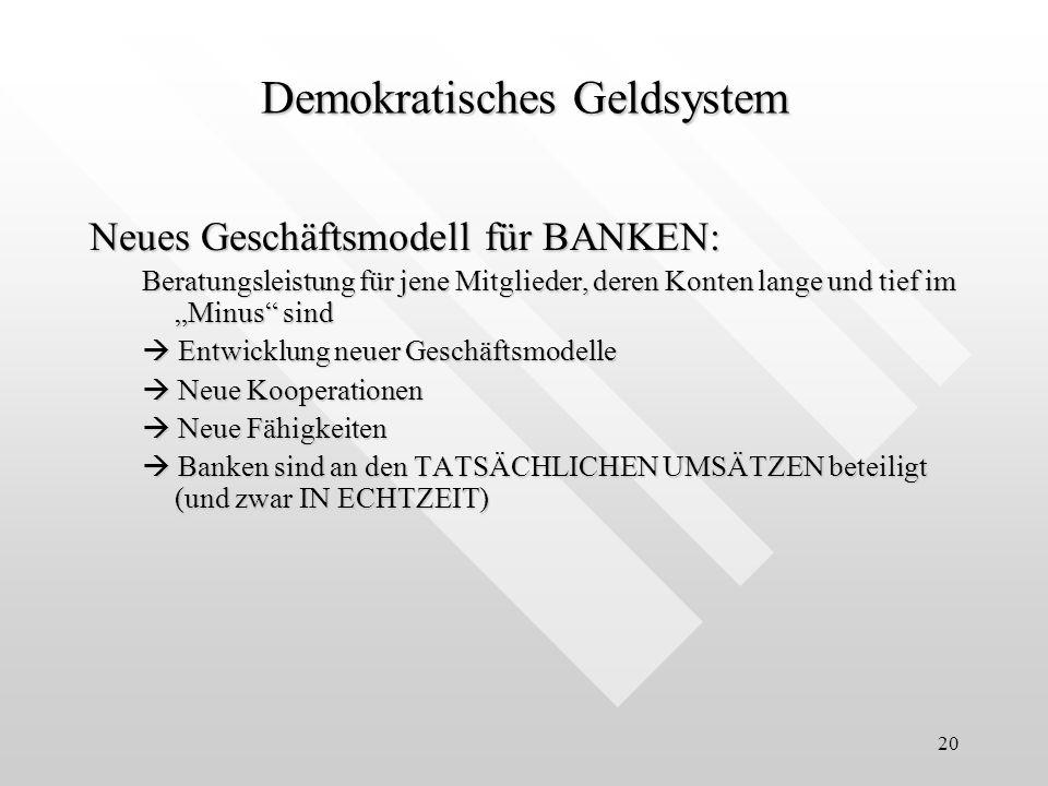 20 Neues Geschäftsmodell für BANKEN: Beratungsleistung für jene Mitglieder, deren Konten lange und tief im Minus sind Entwicklung neuer Geschäftsmodel