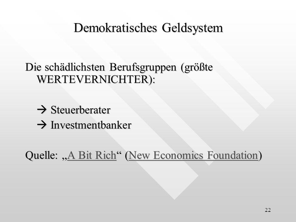 22 Die schädlichsten Berufsgruppen (größte WERTEVERNICHTER): Steuerberater Steuerberater Investmentbanker Investmentbanker Quelle: A Bit Rich (New Eco
