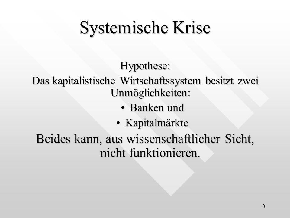 3 Systemische Krise Hypothese: Das kapitalistische Wirtschaftssystem besitzt zwei Unmöglichkeiten: Banken undBanken und KapitalmärkteKapitalmärkte Bei