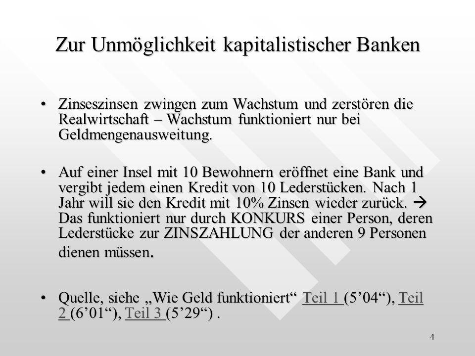 4 Zur Unmöglichkeit kapitalistischer Banken Zinseszinsen zwingen zum Wachstum und zerstören die Realwirtschaft – Wachstum funktioniert nur bei Geldmen