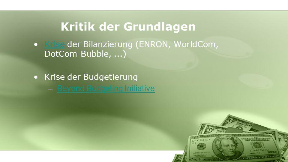 Kritik der Grundlagen Krise der Bilanzierung (ENRON, WorldCom, DotCom-Bubble,...)Krise Krise der Budgetierung –Beyond Budgeting InitiativeBeyond Budgeting Initiative