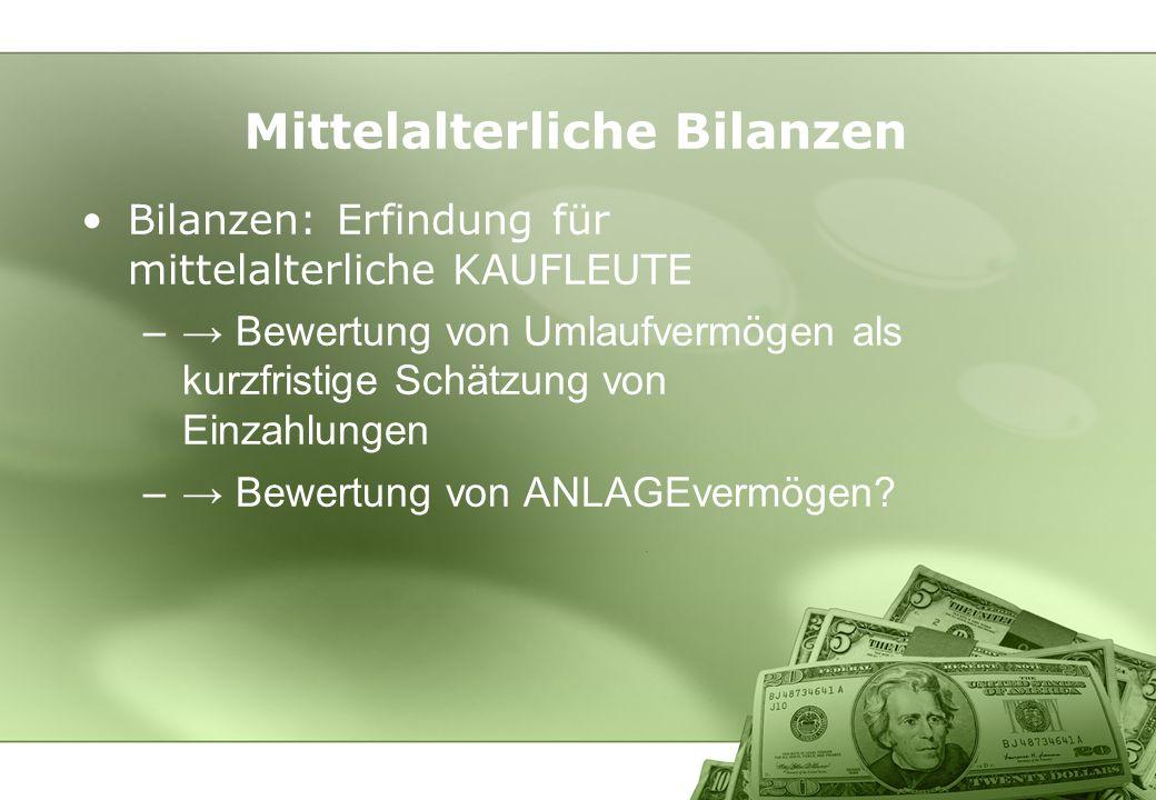 Mittelalterliche Bilanzen Bilanzen: Erfindung für mittelalterliche KAUFLEUTE – Bewertung von Umlaufvermögen als kurzfristige Schätzung von Einzahlunge