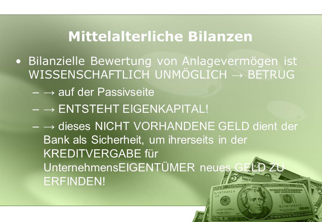 Mittelalterliche Bilanzen Bilanzielle Bewertung von Anlagevermögen ist WISSENSCHAFTLICH UNMÖGLICH BETRUG – auf der Passivseite – ENTSTEHT EIGENKAPITAL