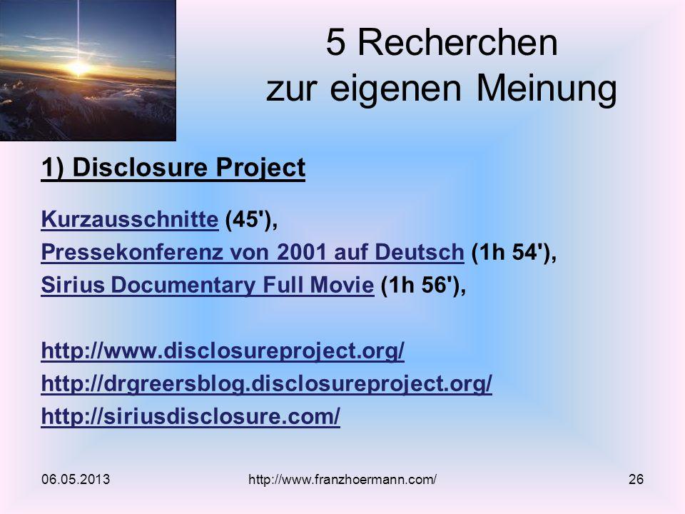 1) Disclosure Project KurzausschnitteKurzausschnitte (45'), Pressekonferenz von 2001 auf DeutschPressekonferenz von 2001 auf Deutsch (1h 54'), Sirius