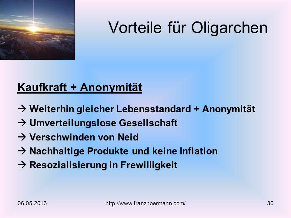 Kaufkraft + Anonymität Weiterhin gleicher Lebensstandard + Anonymität Umverteilungslose Gesellschaft Verschwinden von Neid Nachhaltige Produkte und ke