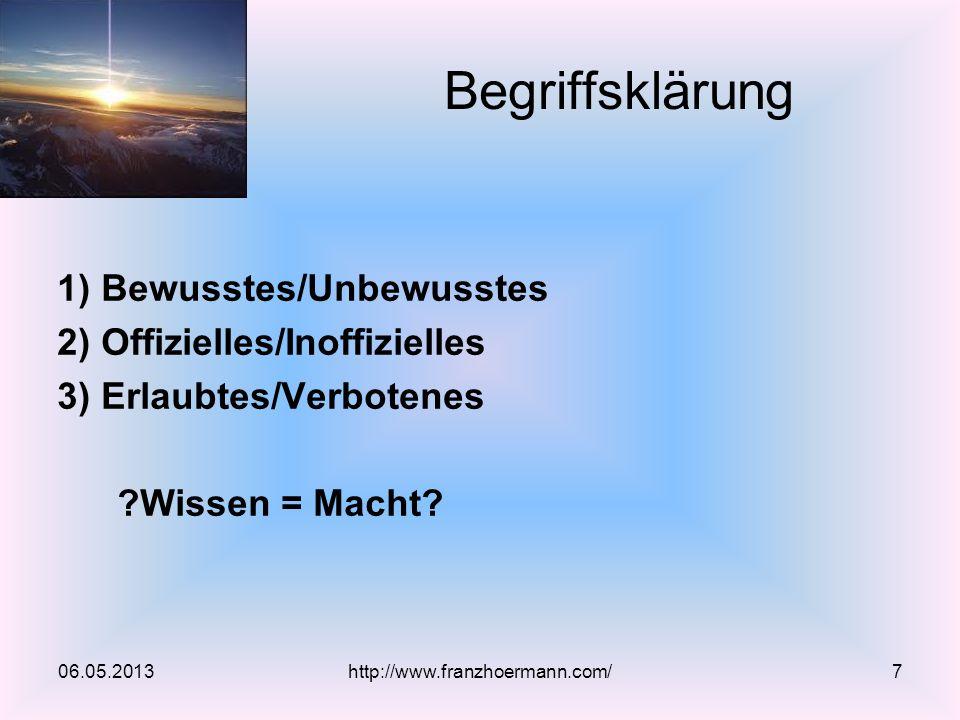 1) Bewusstes/Unbewusstes 2) Offizielles/Inoffizielles 3) Erlaubtes/Verbotenes ?Wissen = Macht? Begriffsklärung 06.05.2013http://www.franzhoermann.com/
