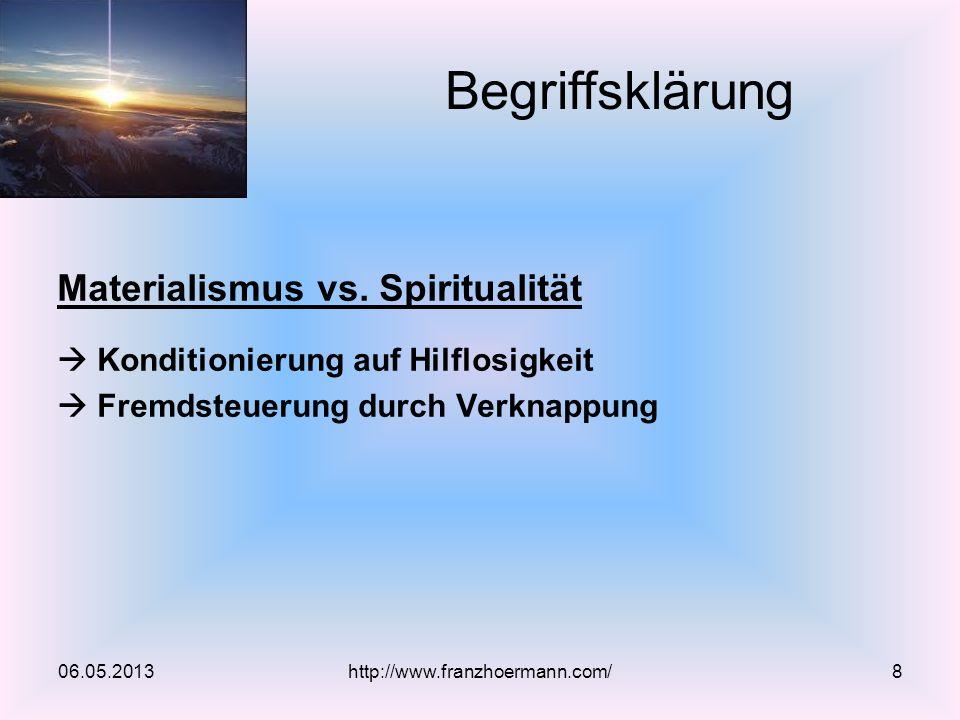 Materialismus vs. Spiritualität Konditionierung auf Hilflosigkeit Fremdsteuerung durch Verknappung 06.05.2013 Begriffsklärung http://www.franzhoermann