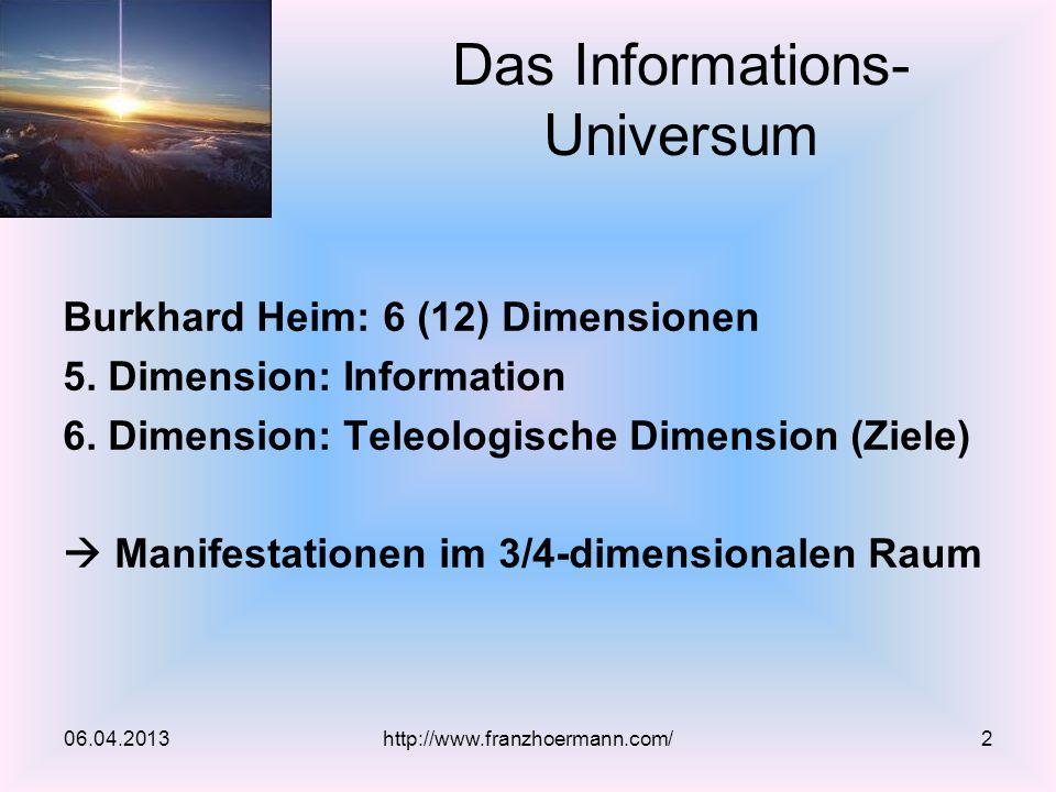 Burkhard Heim: 6 (12) Dimensionen 5. Dimension: Information 6. Dimension: Teleologische Dimension (Ziele) Manifestationen im 3/4-dimensionalen Raum Da