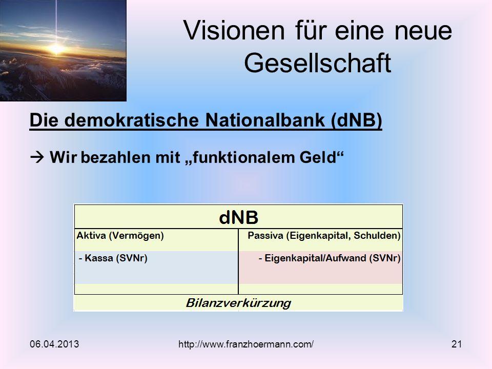 Die demokratische Nationalbank (dNB) Wir bezahlen mit funktionalem Geld Visionen für eine neue Gesellschaft 06.04.2013http://www.franzhoermann.com/21