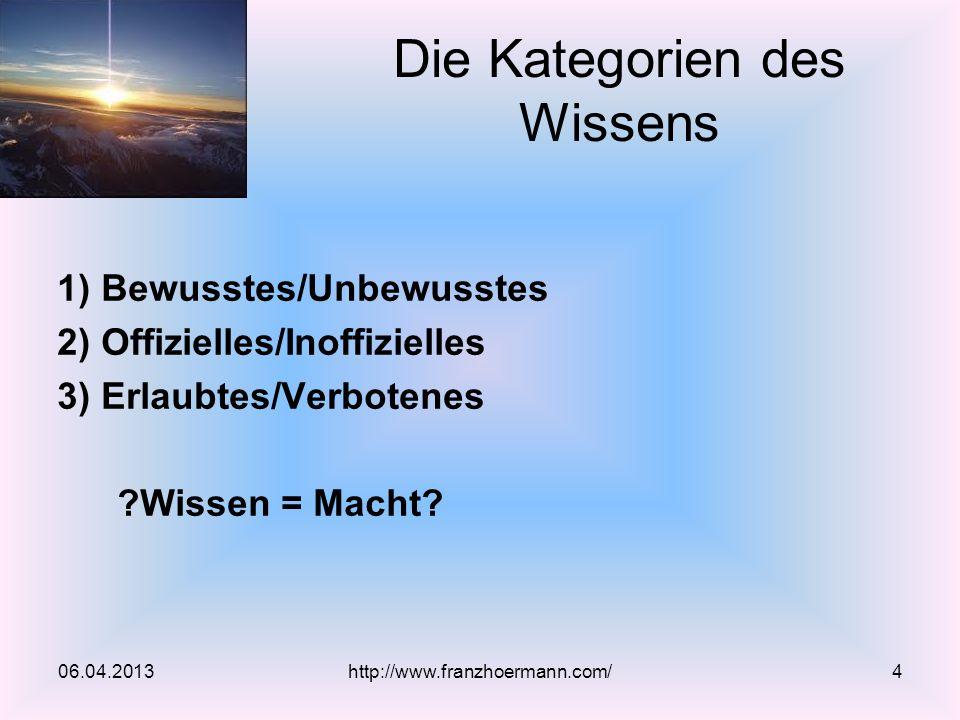 1) Bewusstes/Unbewusstes 2) Offizielles/Inoffizielles 3) Erlaubtes/Verbotenes ?Wissen = Macht? Die Kategorien des Wissens 06.04.2013http://www.franzho