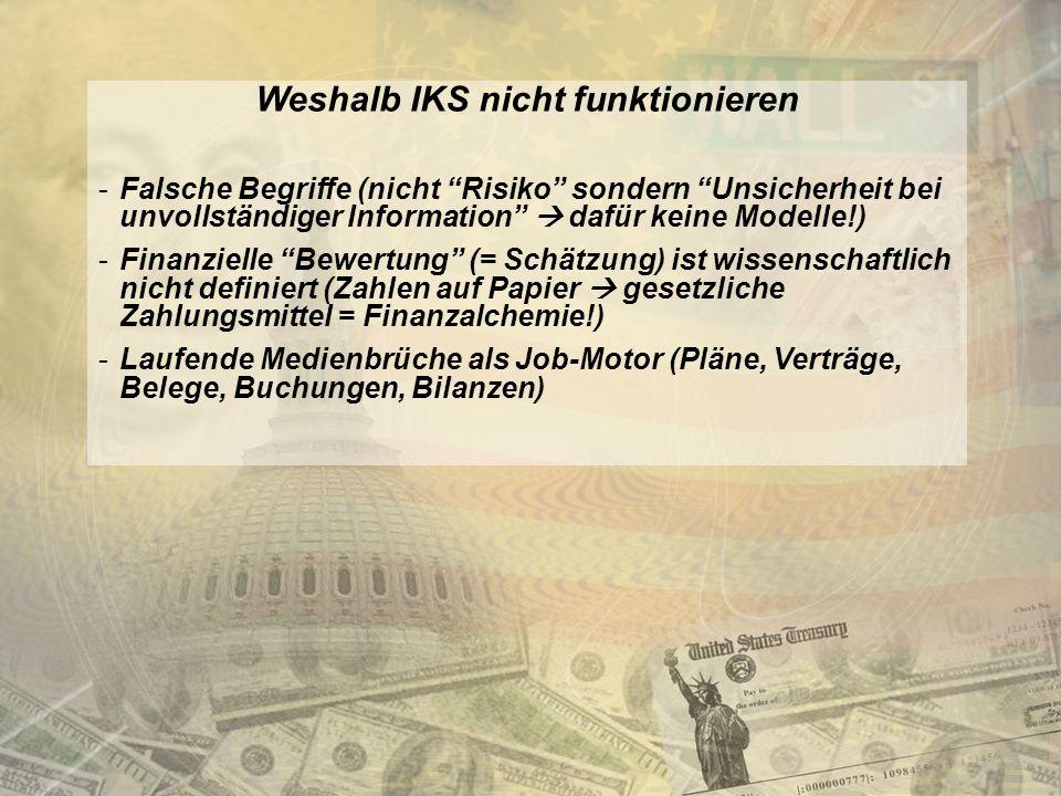 http://www.franzhoermann.com Weshalb IKS nicht funktionieren -Falsche Begriffe (nicht Risiko sondern Unsicherheit bei unvollständiger Information dafür keine Modelle!) -Finanzielle Bewertung (= Schätzung) ist wissenschaftlich nicht definiert (Zahlen auf Papier gesetzliche Zahlungsmittel = Finanzalchemie!) -Laufende Medienbrüche als Job-Motor (Pläne, Verträge, Belege, Buchungen, Bilanzen)