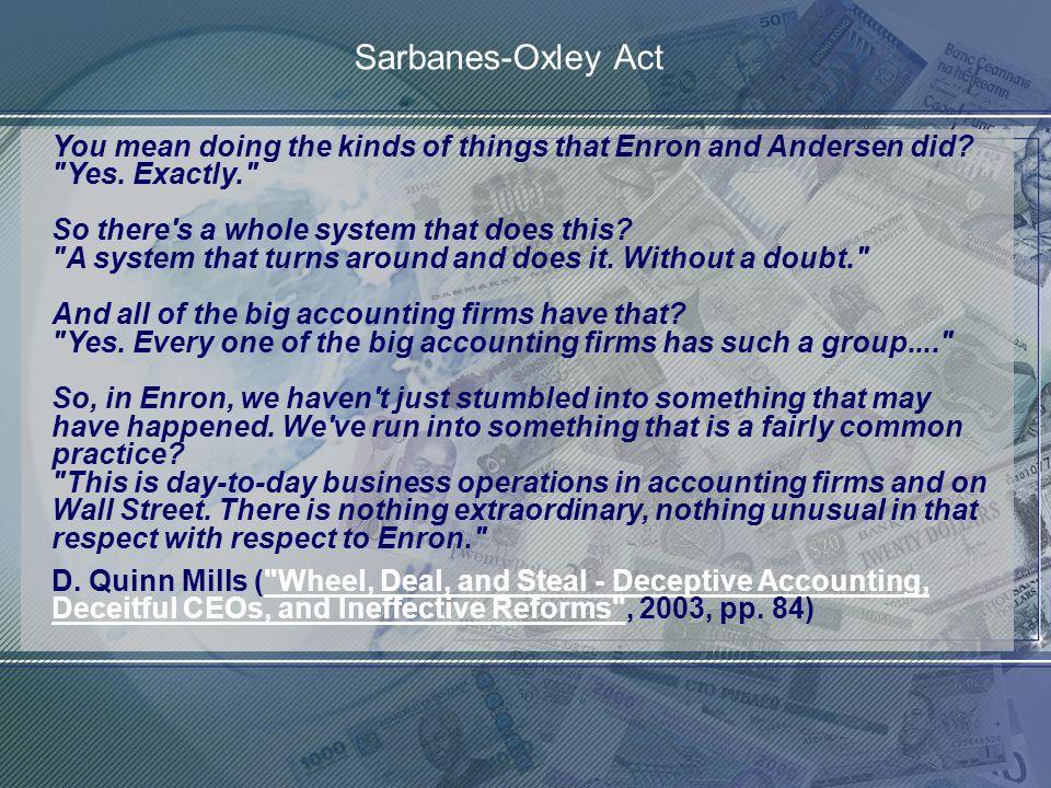 http://www.franzhoermann.com Politisches Gesetz zur Stärkung des Vertrauens in die Finanzmärkte: - ENRON entsprach den Unabhängigkeitsregeln für das board of directors (Accounting Prof.