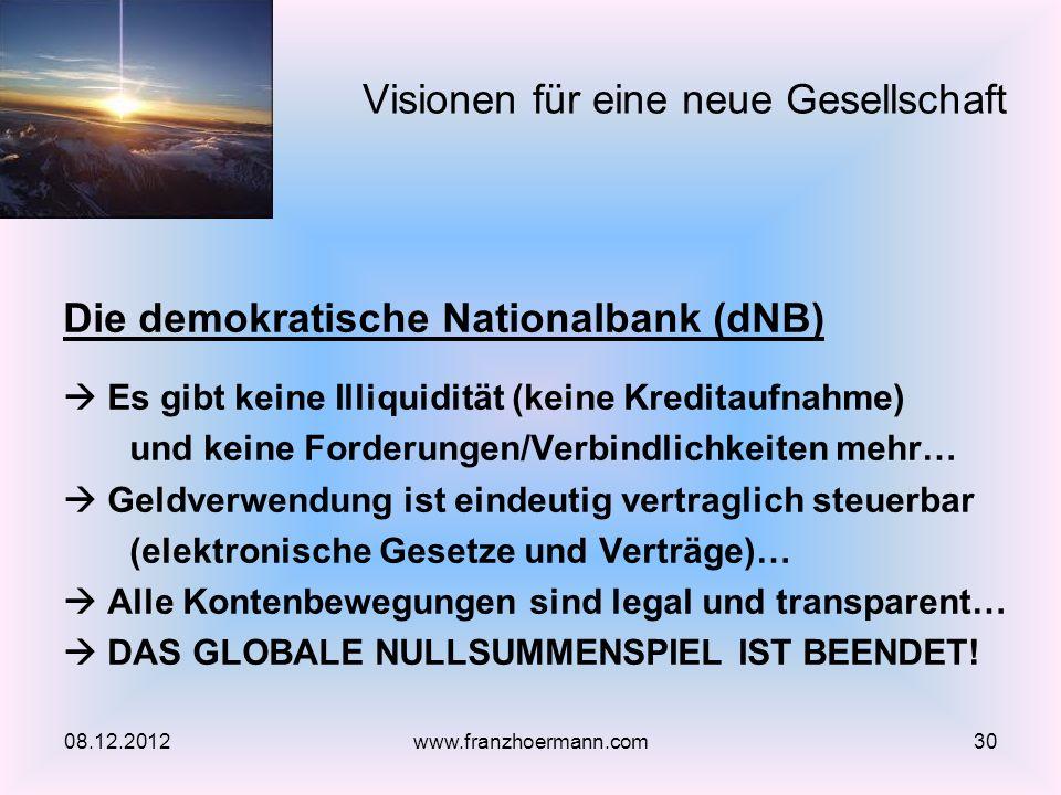 Die demokratische Nationalbank (dNB) Es gibt keine Illiquidität (keine Kreditaufnahme) und keine Forderungen/Verbindlichkeiten mehr… Geldverwendung is