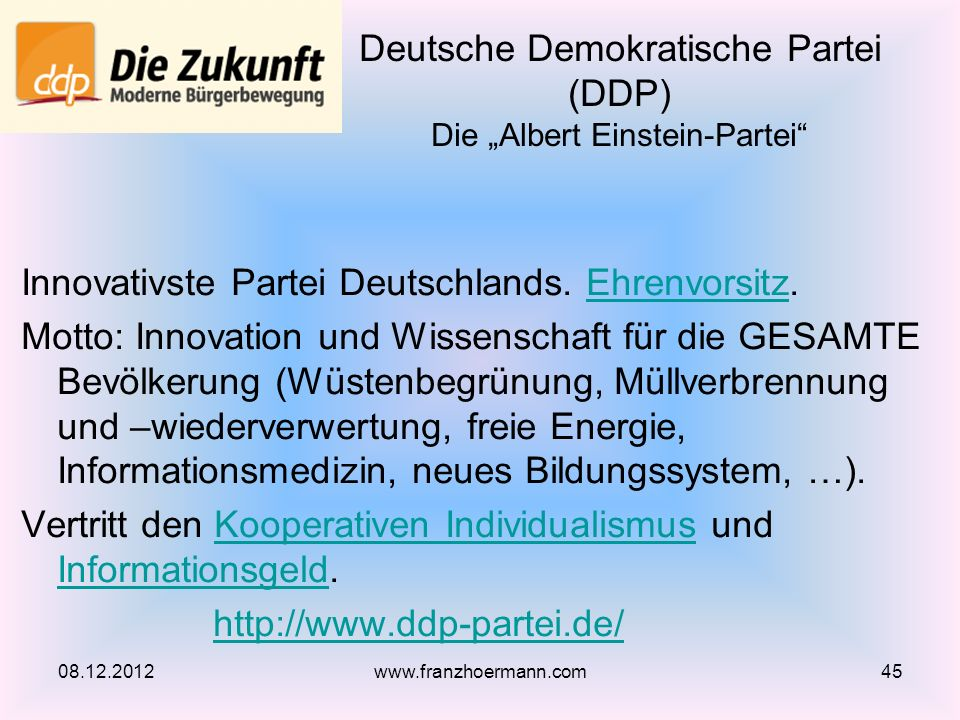 Innovativste Partei Deutschlands. Ehrenvorsitz.Ehrenvorsitz Motto: Innovation und Wissenschaft für die GESAMTE Bevölkerung (Wüstenbegrünung, Müllverbr