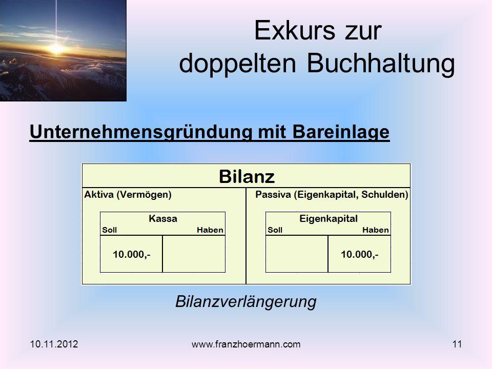 Unternehmensgründung mit Bareinlage Exkurs zur doppelten Buchhaltung 10.11.201211www.franzhoermann.com Bilanzverlängerung