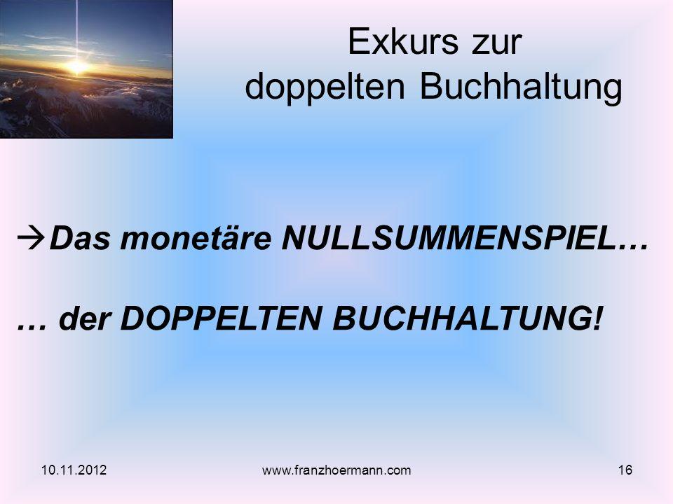 Exkurs zur doppelten Buchhaltung 10.11.201216www.franzhoermann.com Das monetäre NULLSUMMENSPIEL… … der DOPPELTEN BUCHHALTUNG!