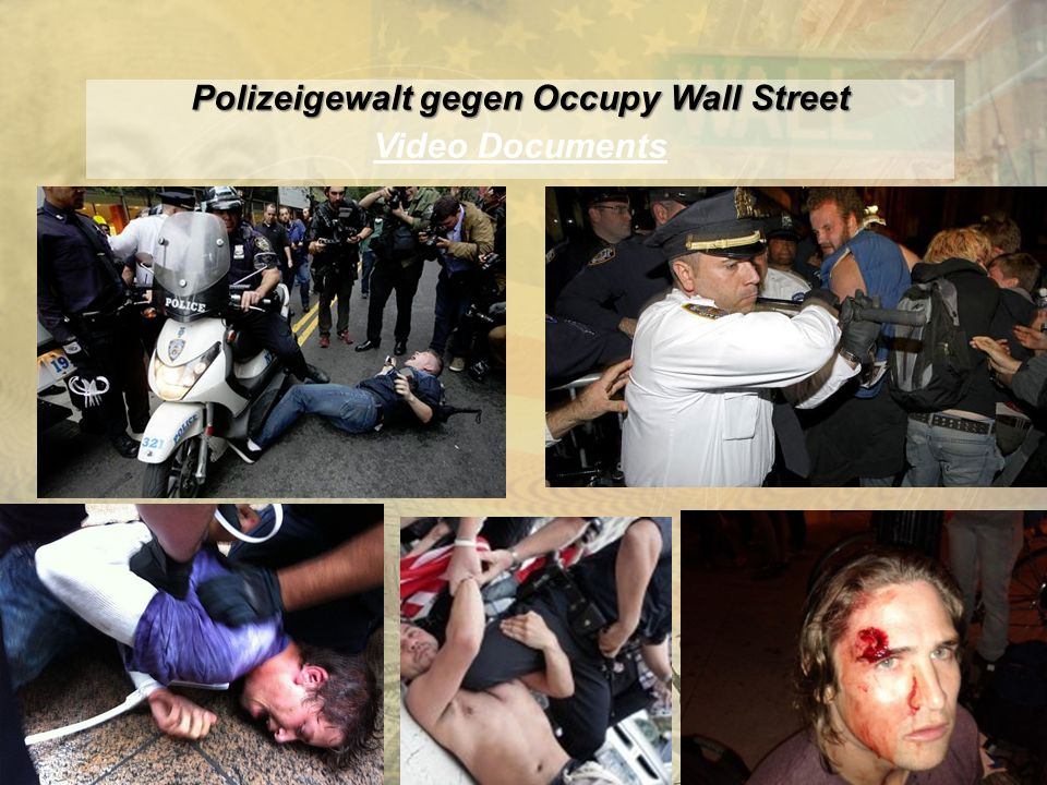 http://www.franzhoermann.com Polizeigewalt gegen Occupy Wall Street Video Documents