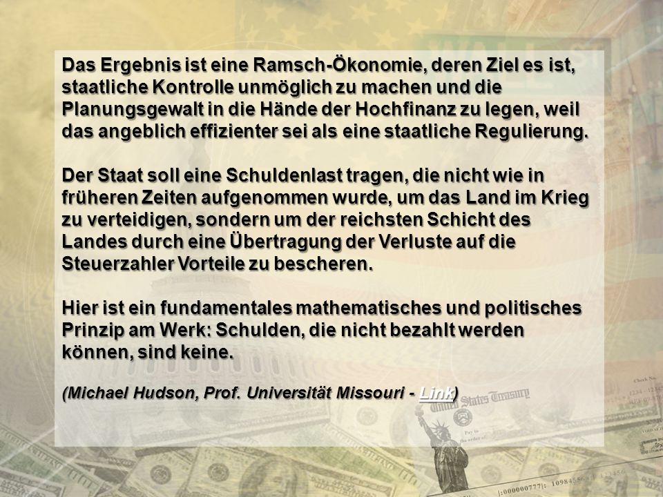 http://www.franzhoermann.com Die US Subprime-Krise (2007) Kredite, die nie zurückgezahlt würden (NINJA)… NINJA … aber laufend Zinsen abwerfen … … wobei die Kreditbriefe weiterverkauft wurden… … wurden AAA geratet… … WEIL … … DAS GELD IST.