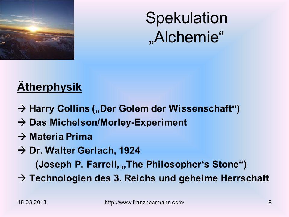 Ätherphysik Harry Collins (Der Golem der Wissenschaft) Das Michelson/Morley-Experiment Materia Prima Dr. Walter Gerlach, 1924 (Joseph P. Farrell, The