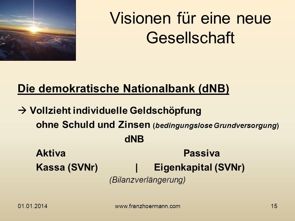Die demokratische Nationalbank (dNB) Vollzieht individuelle Geldschöpfung ohne Schuld und Zinsen (bedingungslose Grundversorgung) dNB AktivaPassiva Ka