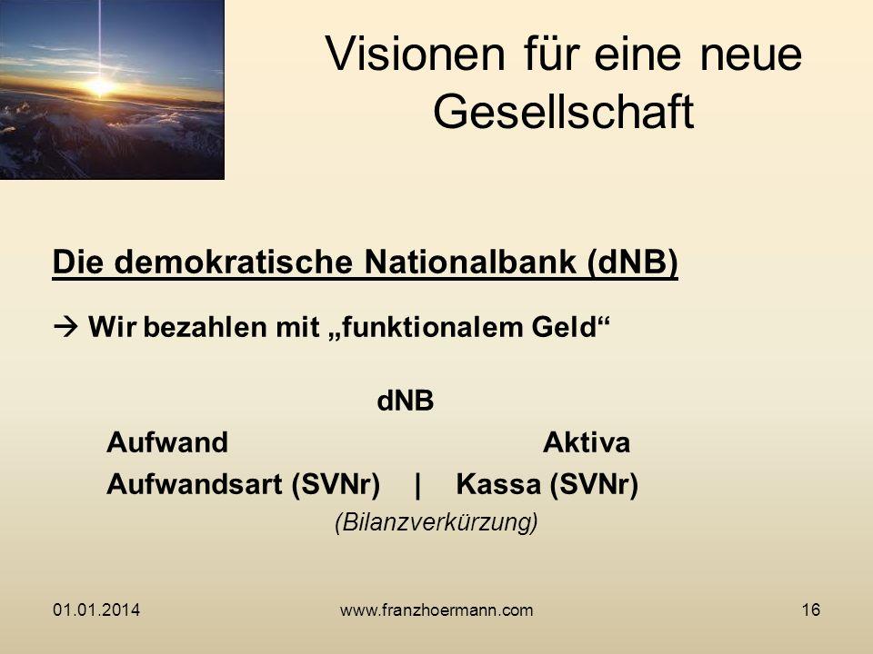 Die demokratische Nationalbank (dNB) Wir bezahlen mit funktionalem Geld dNB Aufwand Aktiva Aufwandsart (SVNr) |Kassa (SVNr) (Bilanzverkürzung) Visione