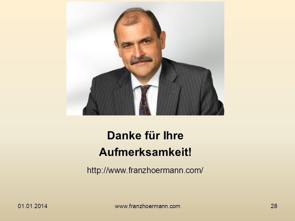 Danke für Ihre Aufmerksamkeit! http://www.franzhoermann.com/ 01.01.201428www.franzhoermann.com