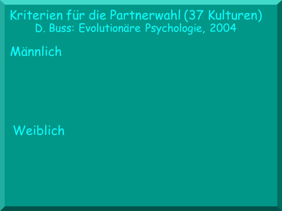 Kriterien für die Partnerwahl (37 Kulturen) D. Buss: Evolutionäre Psychologie, 2004 Weiblich Männlich