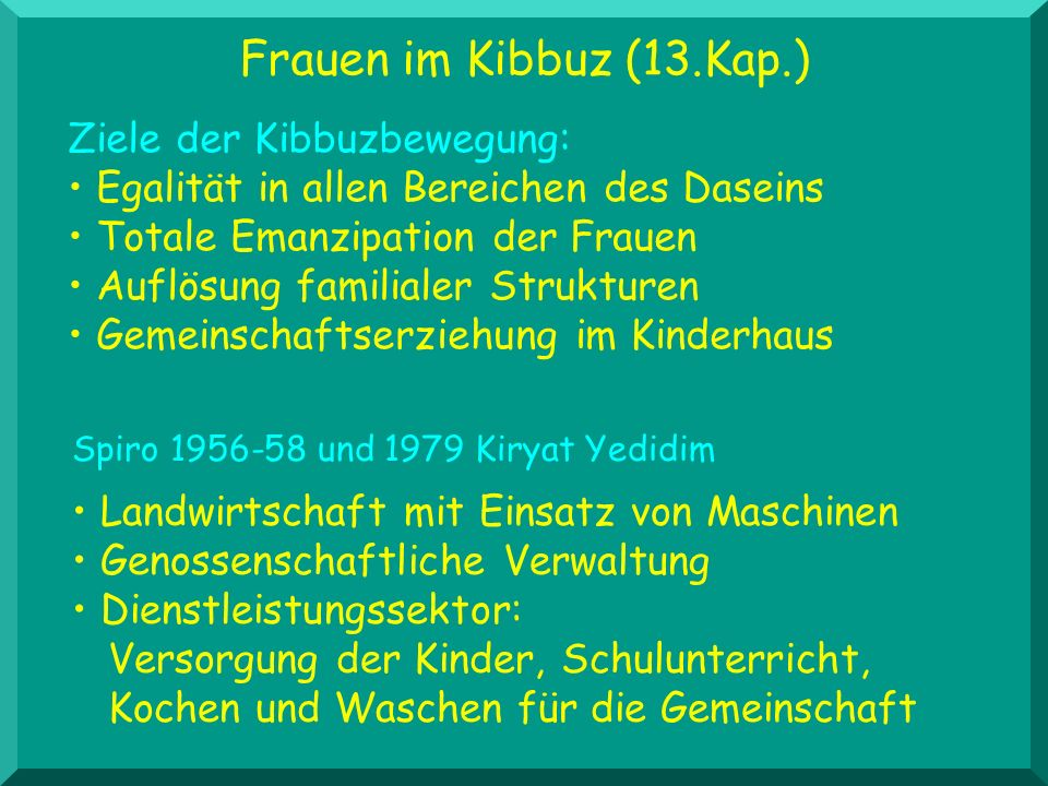 Frauen im Kibbuz (13.Kap.) Spiro 1956-58 und 1979 Kiryat Yedidim Landwirtschaft mit Einsatz von Maschinen Genossenschaftliche Verwaltung Dienstleistun
