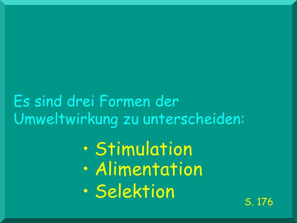 Es sind drei Formen der Umweltwirkung zu unterscheiden: Stimulation Alimentation Selektion S. 176