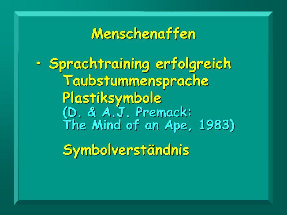 Menschenaffen Sprachtraining erfolgreich Sprachtraining erfolgreichTaubstummensprachePlastiksymbole (D. & A.J. Premack: The Mind of an Ape, 1983) Symb
