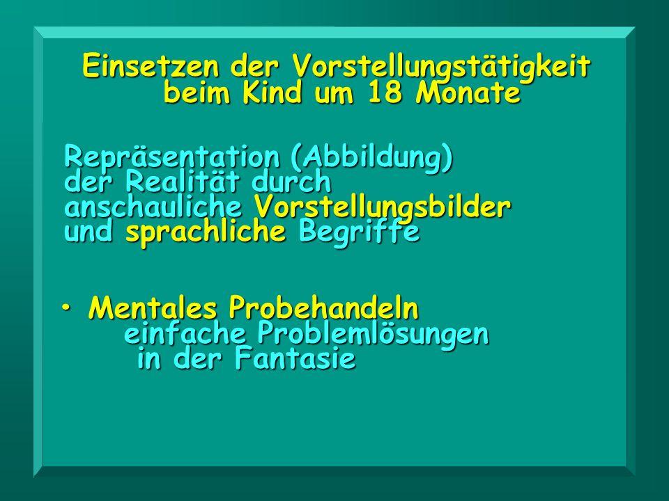Einsetzen der Vorstellungstätigkeit beim Kind um 18 Monate beim Kind um 18 Monate Mentales Probehandeln Mentales Probehandeln einfache Problemlösungen