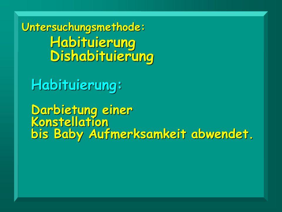 Habituierung: Darbietung einer Konstellation bis Baby Aufmerksamkeit abwendet. Untersuchungsmethode:HabituierungDishabituierung