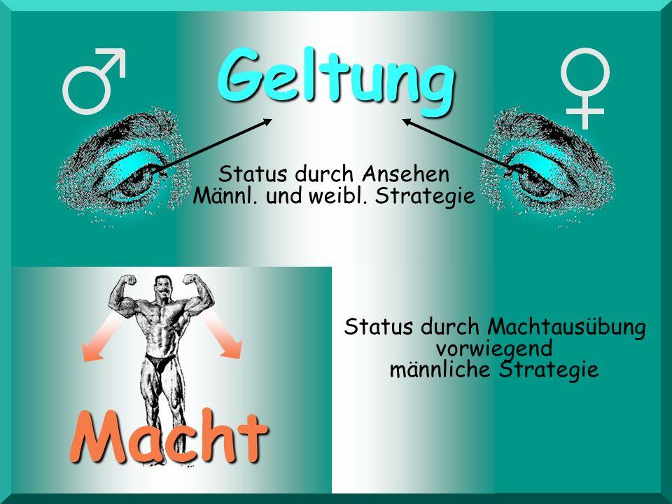 Geltung Macht Status durch Machtausübung vorwiegend männliche Strategie Status durch Ansehen Männl. und weibl. Strategie