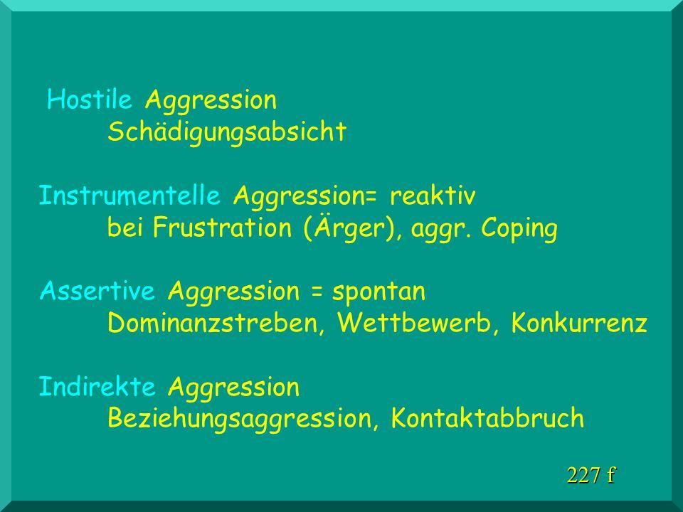 Hostile Aggression Schädigungsabsicht Instrumentelle Aggression= reaktiv bei Frustration (Ärger), aggr. Coping Assertive Aggression = spontan Dominanz