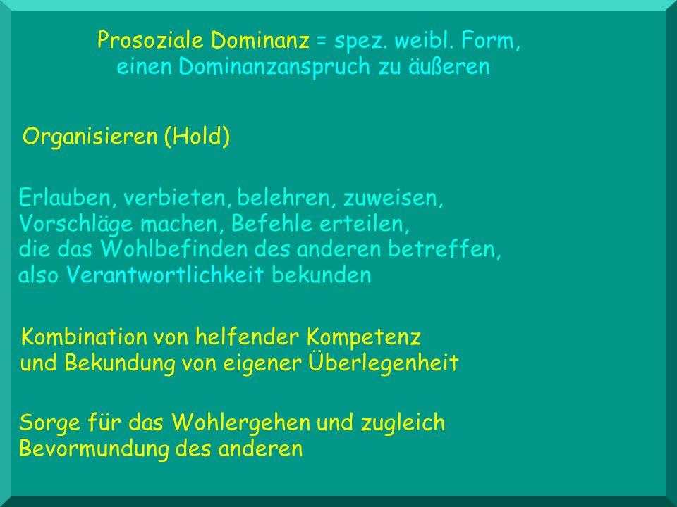 Organisieren (Hold) Prosoziale Dominanz = spez. weibl. Form, einen Dominanzanspruch zu äußeren Erlauben, verbieten, belehren, zuweisen, Vorschläge mac