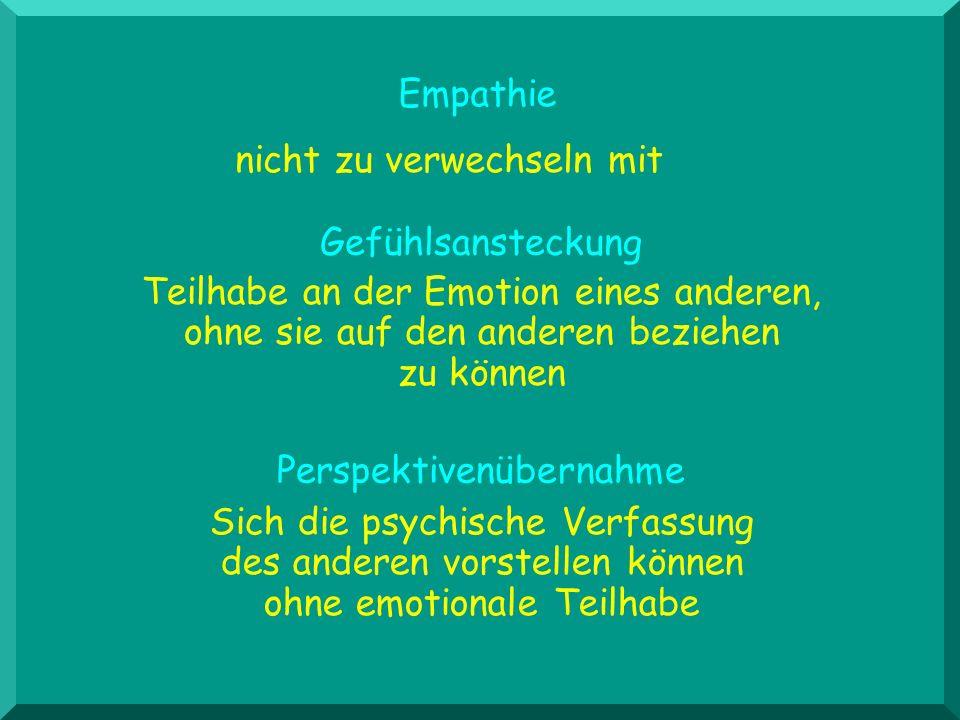 Sich die psychische Verfassung des anderen vorstellen können ohne emotionale Teilhabe Perspektivenübernahme Teilhabe an der Emotion eines anderen, ohn