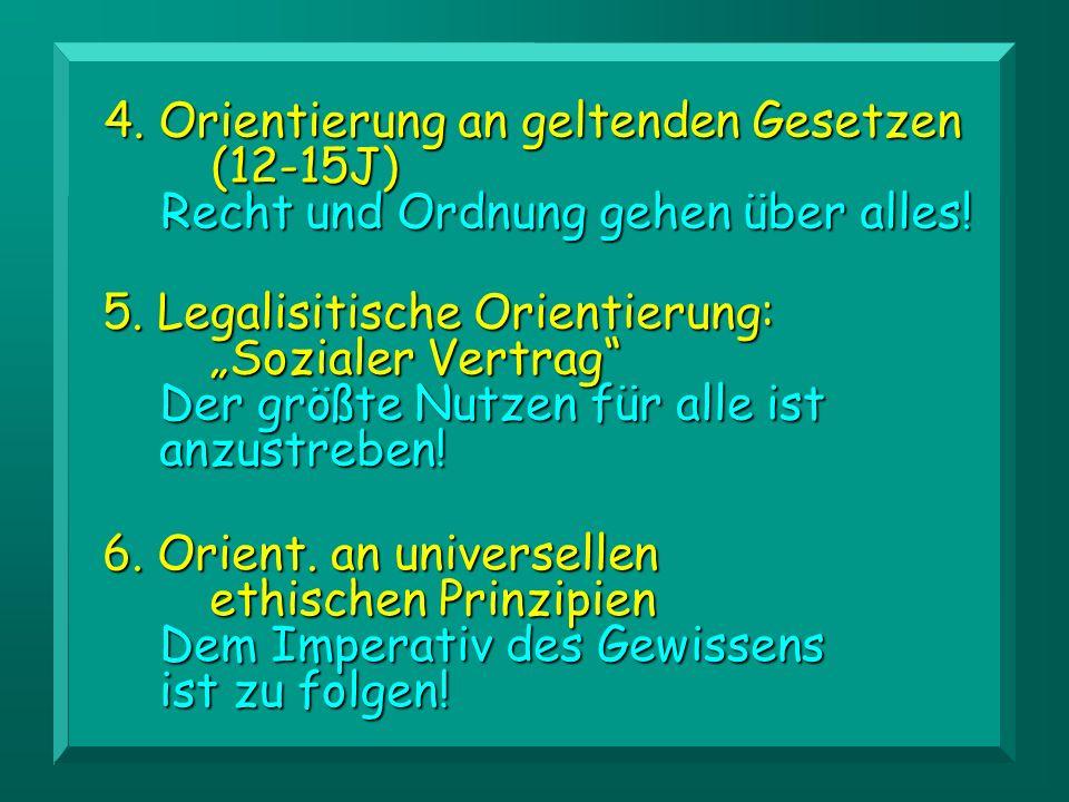 4.Orientierung an geltenden Gesetzen (12-15J) Recht und Ordnung gehen über alles.