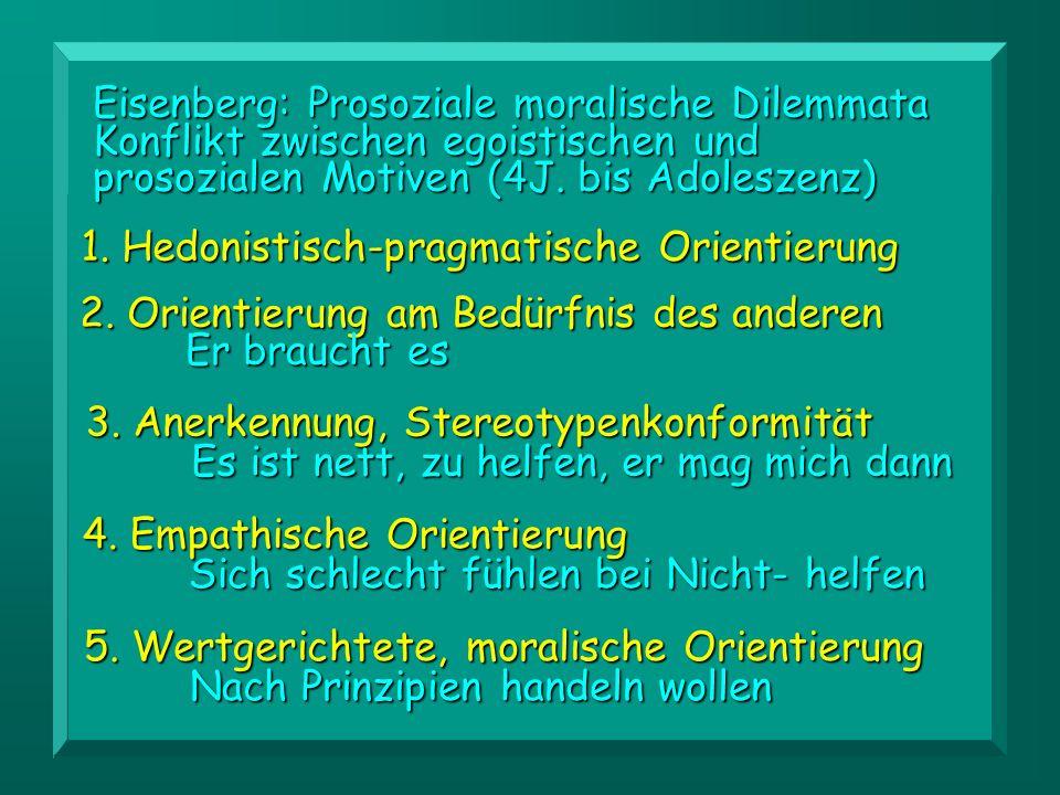 3. Anerkennung, Stereotypenkonformität Es ist nett, zu helfen, er mag mich dann Eisenberg: Prosoziale moralische Dilemmata Konflikt zwischen egoistisc