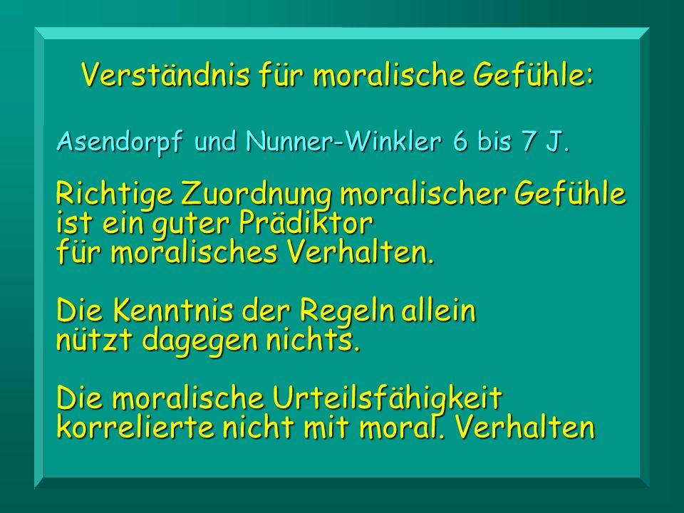 Verständnis für moralische Gefühle: Asendorpf und Nunner-Winkler 6 bis 7 J.