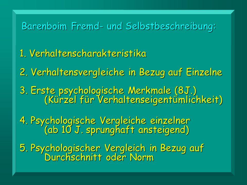 1.Verhaltenscharakteristika 2. Verhaltensvergleiche in Bezug auf Einzelne 3.