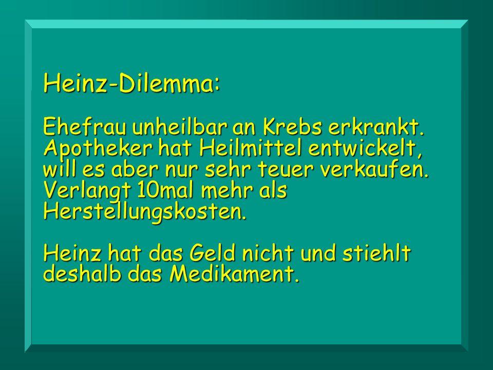 Heinz-Dilemma: Ehefrau unheilbar an Krebs erkrankt.