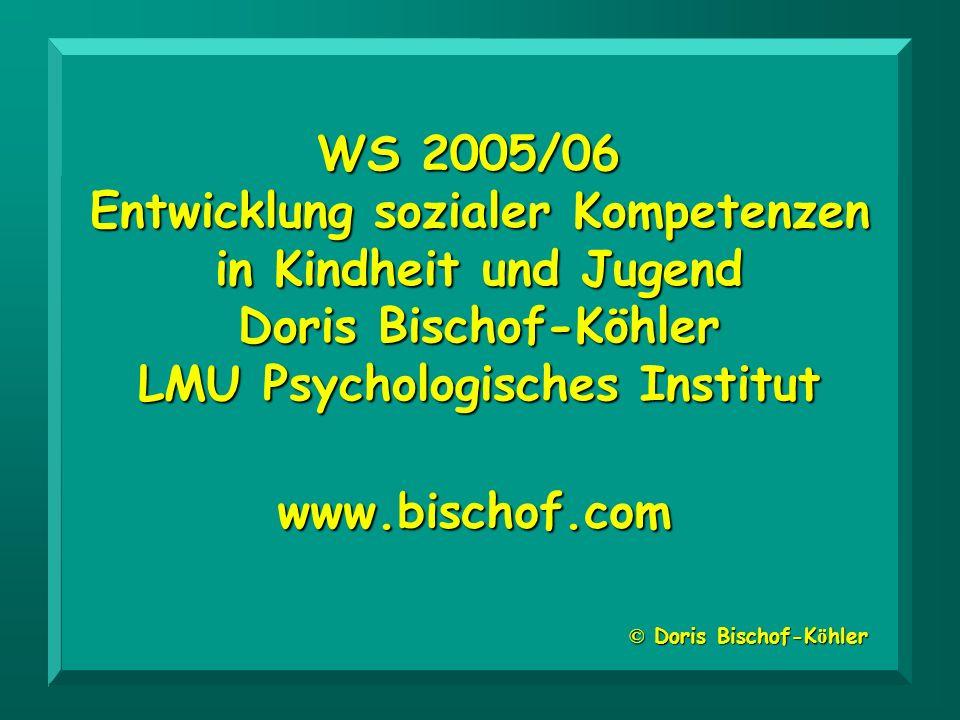 WS 2005/06 Entwicklung sozialer Kompetenzen in Kindheit und Jugend Doris Bischof-Köhler LMU Psychologisches Institut © Doris Bischof-K ö hler www.bisc