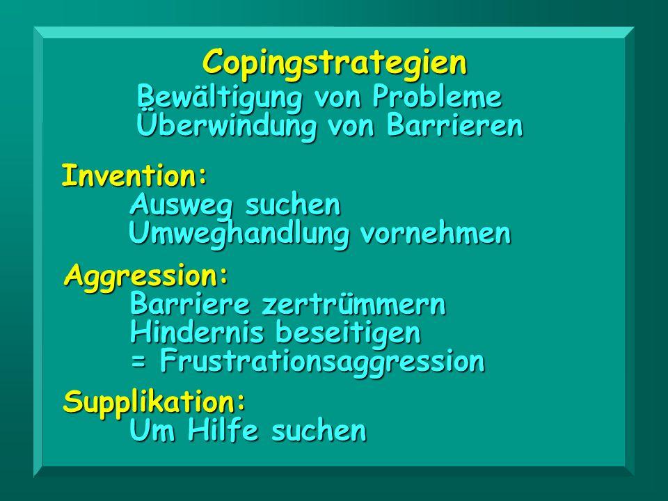 Copingstrategien Aggression: Barriere zertrümmern Hindernis beseitigen = Frustrationsaggression Supplikation: Um Hilfe suchen Bewältigung von Probleme