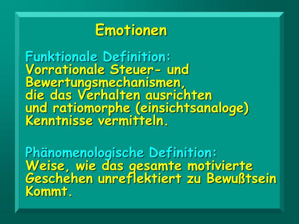 Emotionen Phänomenologische Definition: Weise, wie das gesamte motivierte Geschehen unreflektiert zu Bewußtsein Kommt. Funktionale Definition: Vorrati