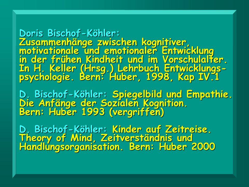 Doris Bischof-Köhler: Zusammenhänge zwischen kognitiver, motivationale und emotionaler Entwicklung in der frühen Kindheit und im Vorschulalter. In H.