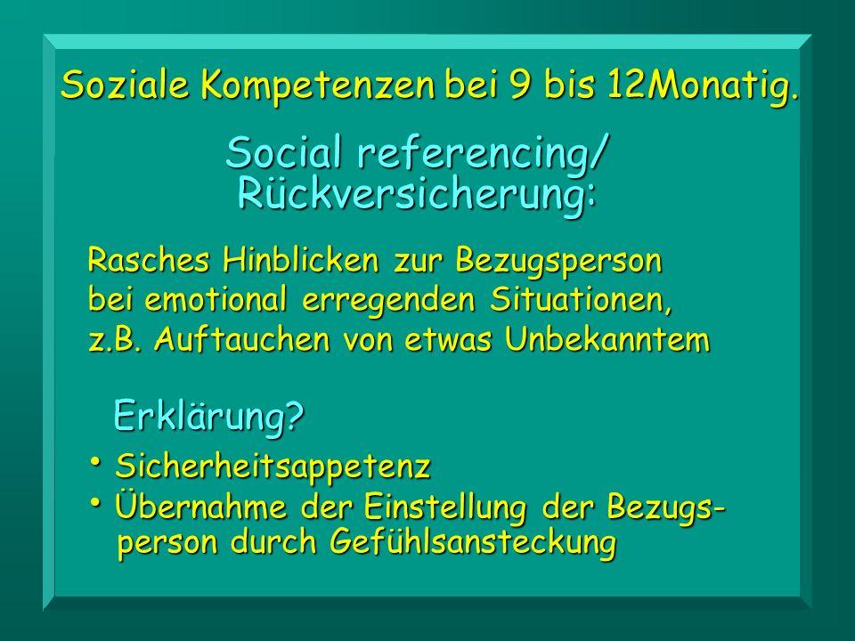 Social referencing/ Rückversicherung: Rasches Hinblicken zur Bezugsperson bei emotional erregenden Situationen, z.B. Auftauchen von etwas Unbekanntem