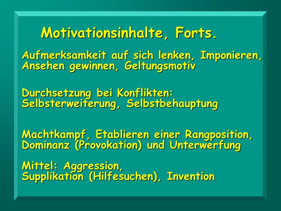 Aufmerksamkeit auf sich lenken, Imponieren, Ansehen gewinnen, Geltungsmotiv Durchsetzung bei Konflikten: Selbsterweiterung, Selbstbehauptung Motivatio