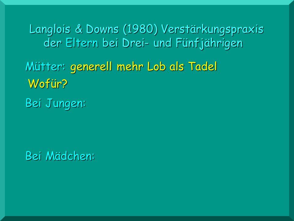 Langlois & Downs Bei Jungen: Bei Mädchen: Väter: generell mehr Tadel als Lob Wofür?