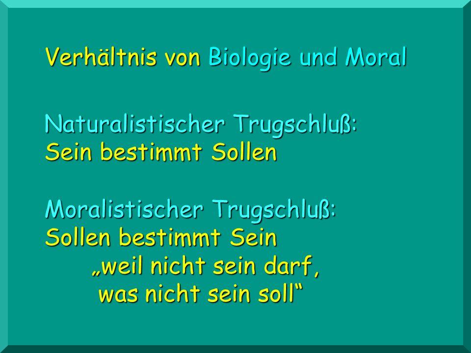Moralistischer Trugschluß: Sollen bestimmt Sein weil nicht sein darf, was nicht sein soll Verhältnis von Biologie und Moral Naturalistischer Trugschlu