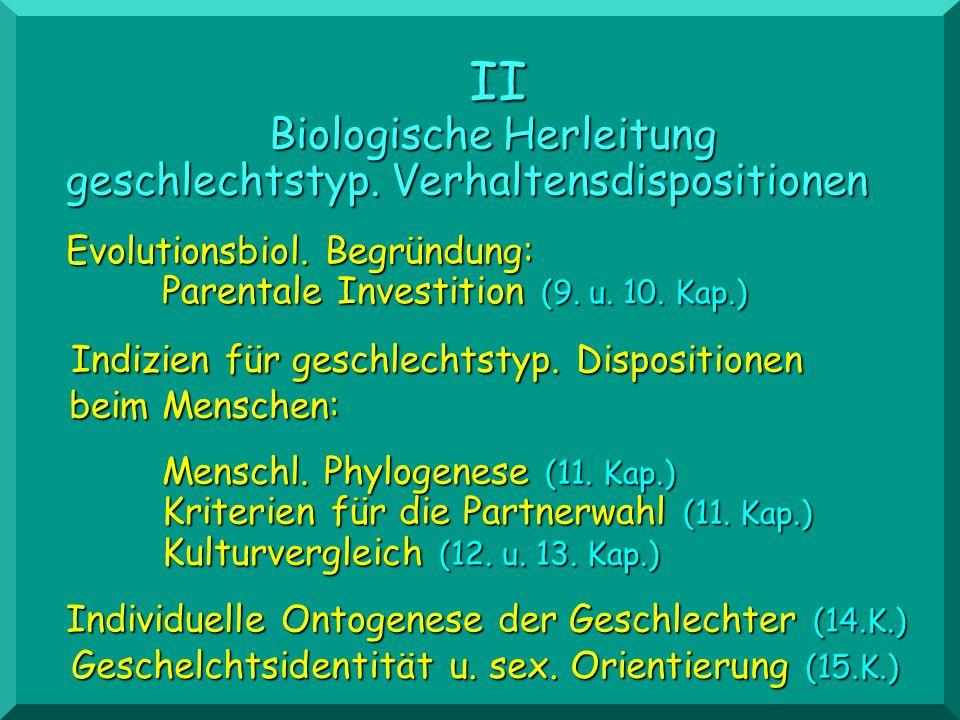Menschl. Phylogenese (11. Kap.) Kriterien für die Partnerwahl (11. Kap.) Kulturvergleich (12. u. 13. Kap.) II Biologische Herleitung geschlechtstyp. V